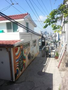 Street art on one of the alleyways near Seoul City Wall.  All of the artwork done along the wall was made with organic material